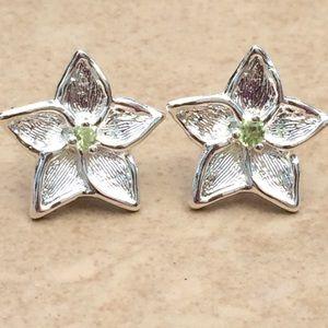Sterling Silver 925 Statement Flower Stud Earrings